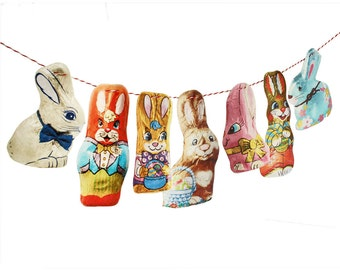 Chocolate Bunnies Easter Garland - photo reproductions on felt - foil wrapped rabbits - Easter bunny bunting