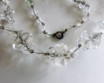 Art Deco flapper rock crystal quartz necklace 19 inches