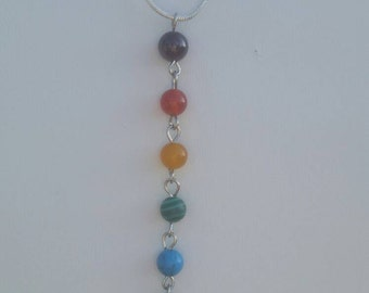 Boho seven chakras lariat necklace on a silver chain