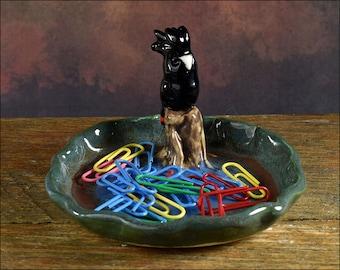 Hand crafted ceramic Black cockatoo on trinket dish or pin dish ooak jewellery dish ring dish or teaspoon dish keys cockatoo  dish