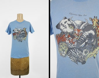 Vintage Cheyenne Mountain Zoo T-shirt 80s Blue Soft and Thin 5050 Tee - Small / XS