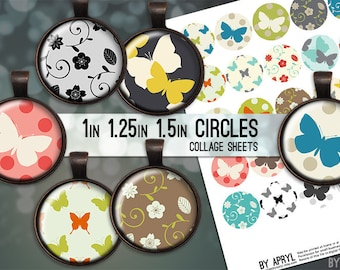 Digital Collage Sheets Butterflies Flowers 1 inch 1.25 and 1.5 Circles Printable Download for Pendant Magnet Bottle Cap Necklace Craft JPG