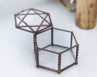 Beveled Glass Box / Glass Jewelry Storage/ Keepsake Box / Wedding Ring Holder / Engagement Box / Clear Jewelry Box / Decorative Geo Box