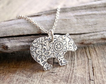 Bear Necklace, Flowered Grizzly Bear, Fine Silver, Sterling Silver Chain, Made To Order