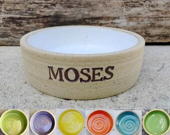 LARGE Dog Bowl, Personalized Dog Bowl, Custom Dog Bowl, Stamped, Large Breed, Pottery Bowl, Handmade, Unglazed, XLarge, j clay pottery, clay
