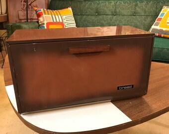 Vintage 1970's Brown Metal Bread Box