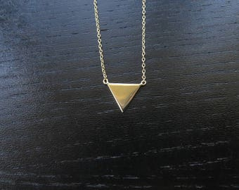Triangle Pendant Necklace of 14K Gold Over 925 Sterling Silver