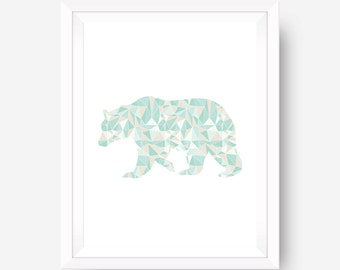 Minimalist Wall Art, Geometric Art, Bear Wall Art,  Coral & Mint, Digital Download, Bear Print, Mint Bear, Mint Wall Art, Coral Wall Art