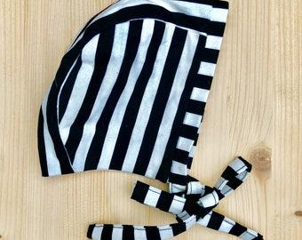 Baby sunhat, toddler sunhat, baby bonnet, toddler bonnet, striped, monochrome , print