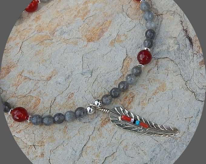 Featured listing image: Now on Sale! Beautiful Blue Flash Labradorite with Carnelian and Sterling Silver Feather Pendant