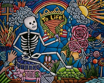 Skeleton Drinks to Life - Ironic Abstract Symbolism Pop Folk Art Original Painting - 11x14
