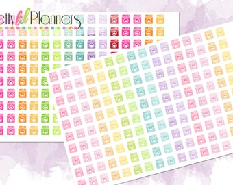 Lil Washing Machine Planner Stickers-Multicolored, Chores Stickers, Functional Stickers, Laundry, Perfect for Erin Condren Planner, ECLP