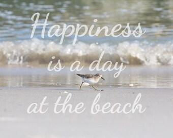 Beach Quote Art, Coastal Wall Art, Sandpiper Photograph, bird Photography, Beach Color Scheme, Beach Photography, coastal color palette