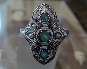 Sterling Silver Natural Emerald & Seed Pearl  Ring  Size 8.5