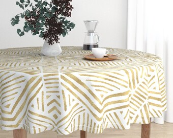 Round Tablecloth   Tribal Geometric Gold By Crystal_Walen   Geometric Luxe  Cotton Sateen Round Tablecloth By Roostery With Spoonflower