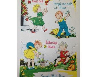Vintage 1956 children's nursery rhyme ready to frame illustration 8x10 - retro, bedroom, decoration, print