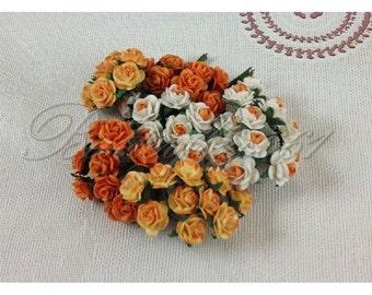 30 Mini Mixed Tangerine Orange Tone Handmade Mulberry Paper Wedding Scrapbooking Craft Roses M-210