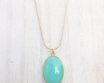 New - Chalcedony Gold Pendant long necklace or layering necklace