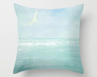 Pillow cover, Ocean Pillow, Beach Photo Pillow, Ocean Seagull Pillow, Aqua Blue Teal Pillow, Beach Bedding, Living room Throw pillow