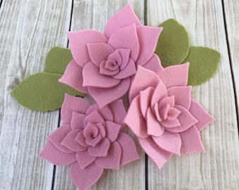 Handmade Wool Felt Flowers, Succulent Flower Set