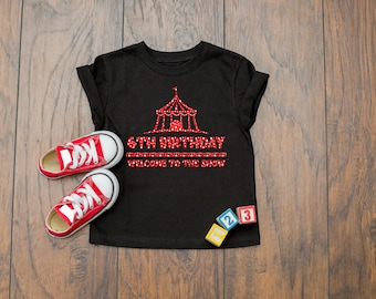 Cute Circus Theme 6th Birthday Quote Party Celebration  Short Sleeve Kids T-Shirt