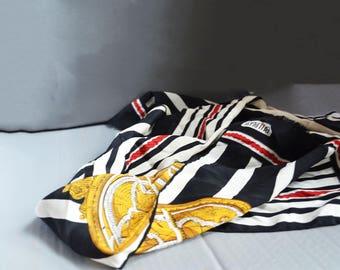 Bill Blass Silk scarf, Nautical silk scarf , Rectangular  scarf, Fringed silk scarf