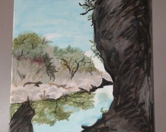 Government Canyon Park Oil Pastel
