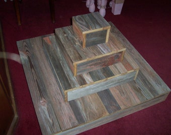 Rustic Cupcake Stand Cake wedding reception decorations 4 tier weddings Plate Barn wood Reclaimed Marriage Vintage country