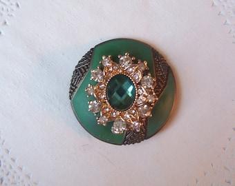 Emerald Magnet (721) - Emerald Green Refrigerator Magnet - Emerald jewelry - repurposed jewelry - jeweled magnet - rhinestone magnet