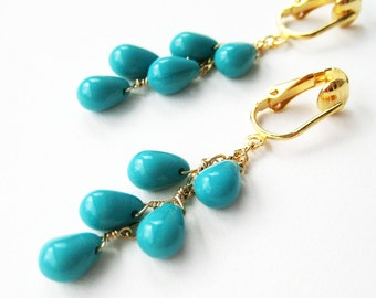 Turquoise Clip On Earrings, Glass Teardrop Cascade, Gold Clip Earrings, Sky Blue Smooth Glass Drops, Gold Chain Clipons, Handmade, Georgia