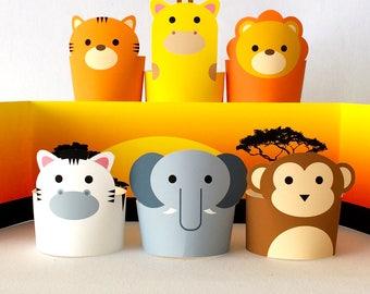 Safari Jungle Paper Animals Diorama Kit, Paper Crafts for Kids, DIY Printable Paper Toys/Puppets, Creative Kids Toys, Monkey, Lion, Giraffe