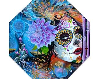 Goddess of The Lotus Giclee Print, Day of the Dead Art, Dia De Los Muertos Art, Goddess Art, Original Giclee Print, Lotus Flower Art