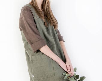 Japanese apron / Linen pinafore / Square cross linen apron / cross back apron / Washed long apron / linen tunic