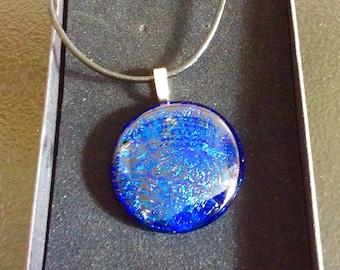 Fused glass Dichroic pendant - blue sparkle