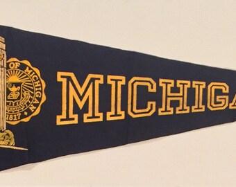 Vintage University of Michigan Full Sized 29 inch Flocked Felt Style Pennant - Antique College Memorabilia