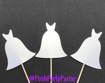 Wedding Gown Cupcake Toppers - One Dozen