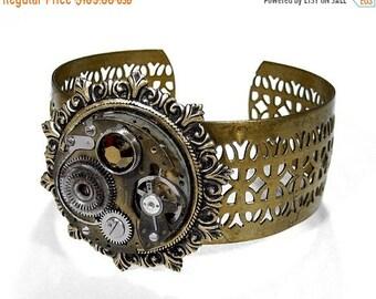 Steampunk Jewelry Cuff Bracelet Brass INDUSTRIAL GRUNGE Pocket Watch, Featured in Time Out, Punk, Rocker BIKER Cuff - Jewelry by edmdesigns