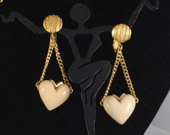 Vintage Heart Earrings 1960s Ivory Colored Resin Earrings