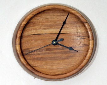 Wall Clock, Turned Wood Clock, Red Elm Wood, Spalted Figuring