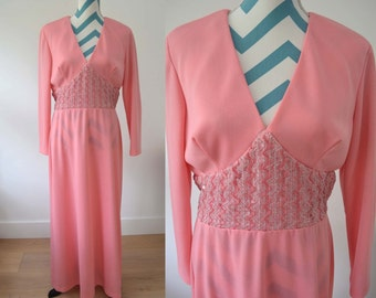 Vintage 1970s Maxi Dress with Long Sleeves - Bubble Gum Pink Long Dress with Embellished Sequin Zig Zag Empire Waist - Hippie Bridesmaid