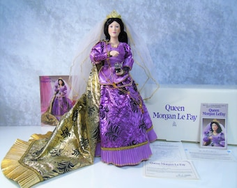 Vintage 1993 QUEEN Morgan Le Fay DOLL Celtic Medieval Sorcerer Camelot Advisor King Arthur's Knights Of Round Table Danbury Mint New In Box