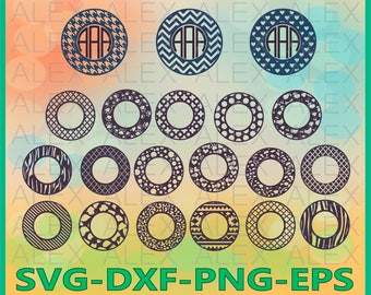 70% OFF, Circle Monogram Frames SVG, Silhouette Studio, Circle monogram frames, Monogram Frame svg, dxf,ai,eps, png, Chevron Monogram Frame