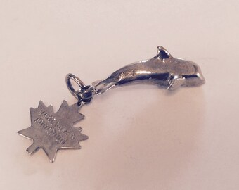 Whale sterling silver charm vintage # 389
