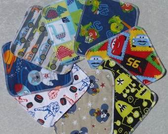 Set of 40 boys pattern prints, reusable cloth napkins, baby wipes, lunch napkins, eco-friendly, unpaper napkins