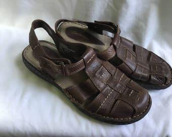 Women's Brown Sandals, Leather Sandals, Size 8 Sandals,