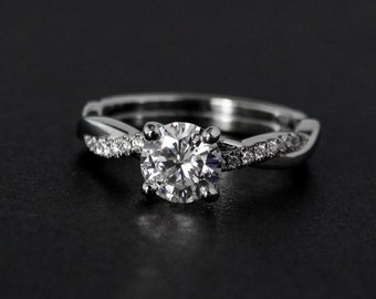 Forever One Moissanite Ring - Twisted Vine Band - Engagement Ring, Modern Bride - Round Brilliant Cut