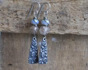 Long Bohemian Earrings with Artisan Pewter Charms. Hand Cast Pewter Earrings. Art Bead Earring. Rustic Lilac Grey Floral Earrings.