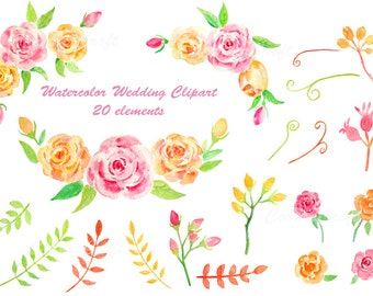 Watercolor wedding clipart - pink and yellow rose, leaf, flower bud, instant download