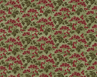 By The HALF YARD - Winterlude by 3 Sisters for Moda Fabrics, #44044-13 Mistletoe Berry Blossoms, Red Berries & Green Leaves on Sage Green