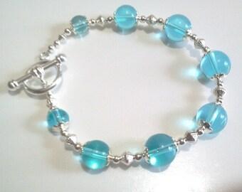 Sky Blue Glass Bead Statement Bracelet, Bridal Jewelry Valentine Gift, Christmas Stocking Stuffer, Womens Beaded Bracelet, Large 9 Inch Size